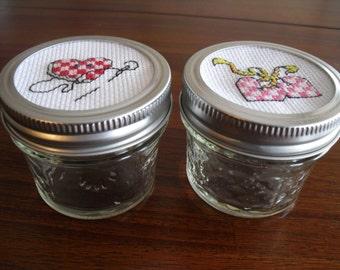 Mason Jars-Small - Set of 2 - Counted Cross Stitch Design Lid-Storage-Decoration
