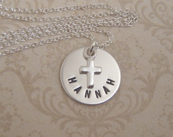 """Baptism keepsake necklace - Child's name and tiny cross necklace - Small 1/2"""" name charm - Double sided date option - Photo NOT actual size"""