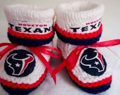 Custom handmade knit NFL Houston TEXANS baby booties 0-12M-cute gift photos