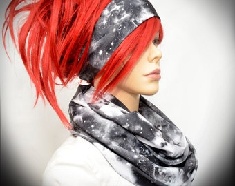 Black & White  infinity scarf with galaxy print with matching headband