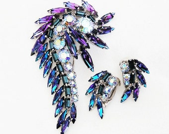 Continental Peacock Color Brooch and Clip Earring Set