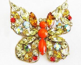 Regency Jonquil and Orange Butterfly Figural Brooch