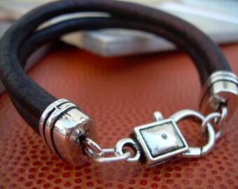 Leather Bracelet , Antique Brown Leather Cord, Lobster Clasp Closure, Mens Jewelry, Mens Bracelet