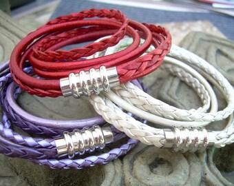 Womens Magnetic Clasp Leather Bracelet, Stainless Steel, Magnetic Clasp, Double Wrap Bracelet, Womens Bracelet, Womens Jewelry, red , purple