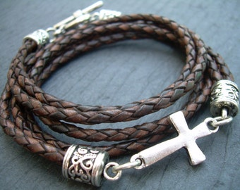 Braided Leather Bracelet, Antique Brown, Cross Bracelet, Cross, Religious Gift, Mens Bracelet, Womens Bracelet, Faith, Fathers Day