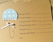 Baby Shower Games - Baby Shower Wish Cards - Umbrella Wish Cards -  Wishes For New Baby Cards - Kraft Wish Cards  - KBUWSH