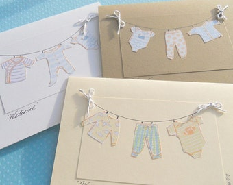 Baby Shower Cards - Welcome Baby Cards - New Baby Cards - Baby Boy Cards -  Baby Clothesline Cards - COCL