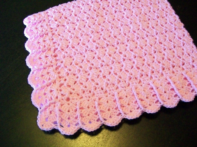 Lightweight Baby Afghan Crochet Pattern : Crochet Light Pink Baby girl afghan Blanket by littledarlynns