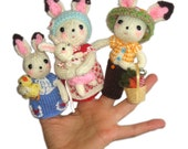 BUNNIES Family Finger PUPPETS Pdf Email Knit PATTERN