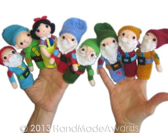 Snow White and the Seven Dwarfs Finger Puppets PDF Email Knit PATTERN