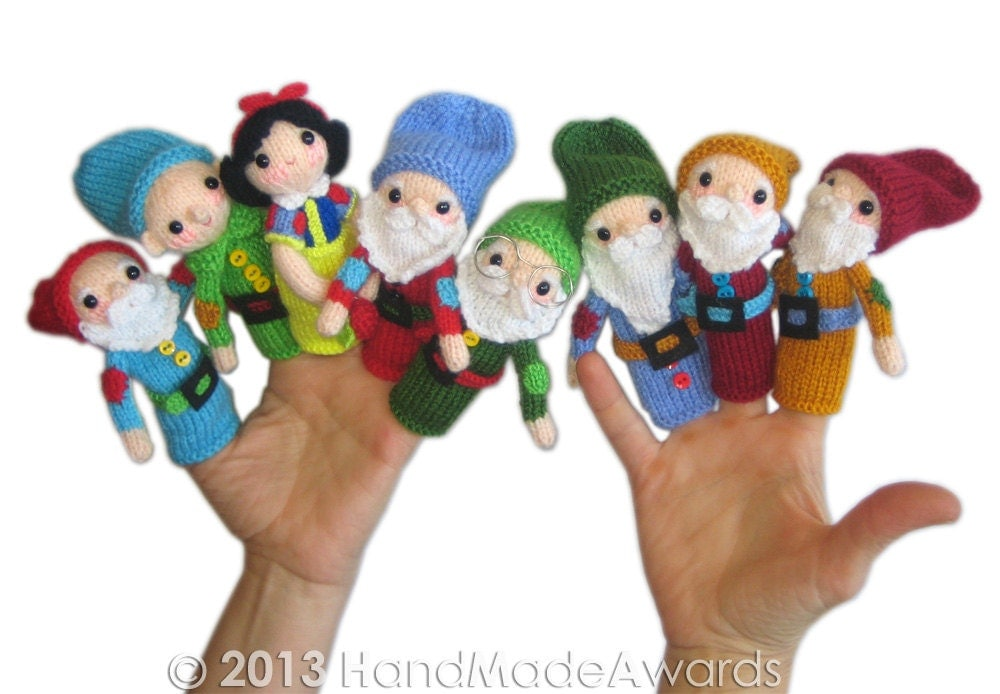Knitting Patterns Toys Finger Puppets : Snow White and the Seven Dwarfs Finger Puppets PDF Email Knit