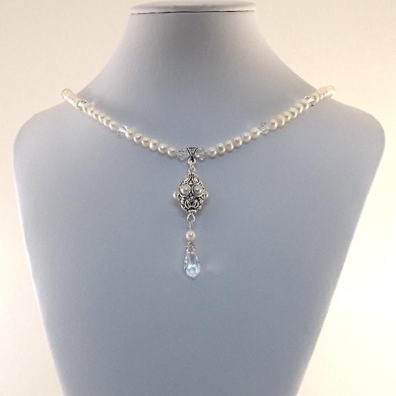 White Pearl Necklace Choker Freshwater Pearl Swarovski  Silver Pearl Pendant Swarovski Faceted Teardrop Swarovski Bicone Beaded Strung