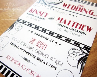 Old Hollywood Wedding Invitation Printable