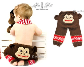 Funky Butts Knitted  Monkey Pants READY to SHIP