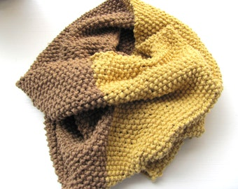 Handknitted scarf for men  women------- Cotton--Light  brown and  Mustard-- under 50 USD--Autumn