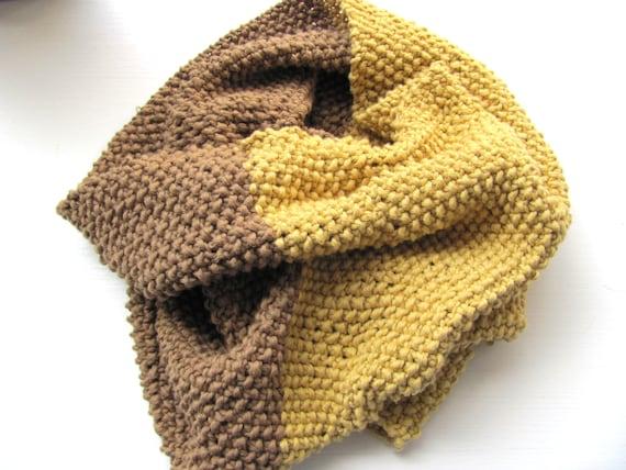Handknitted scarf for men  women------- Cotton--Light  brown and  Mustard-- under 50 USD--Autumn