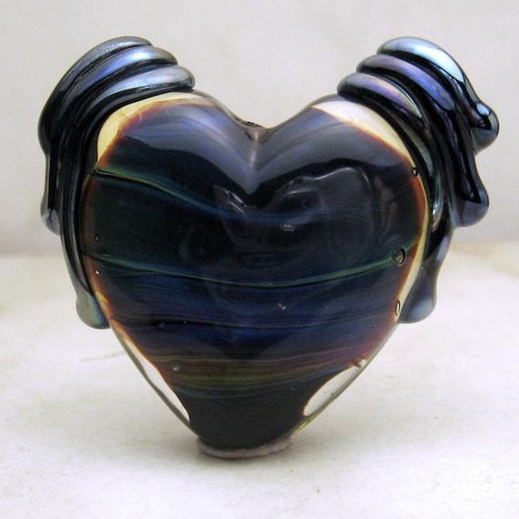 SRA Lampwork Glass Bead, Organic Winged Heart Focal Bead  Iridescent Blue