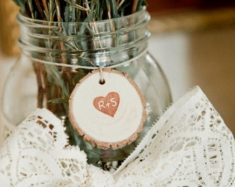 Rustic Favor Tags Personalized Heart  100 Tree Tags