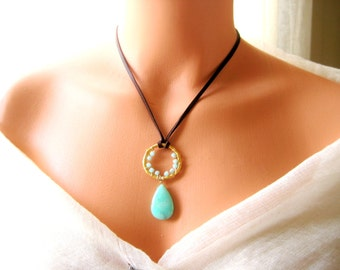 Leather Chrysoprease green/mint wire wrapped gold necklace, boho, bohomian, gypsy