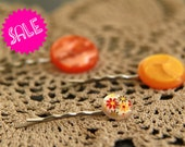 SALE be my sunshine - set of 3 vintage button hairpins