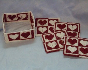 SALE-heart design set of 4 coasters and holder