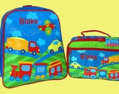 Child's Personalized Stephen Joseph GoGo TRANSPORTATION Themed Backpack and Lunchbox School Set-Monogramming Included In Price