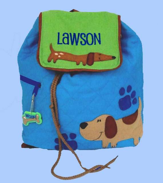 Child's Stephen Joseph Quilted DOG Backpack Personalized For Free
