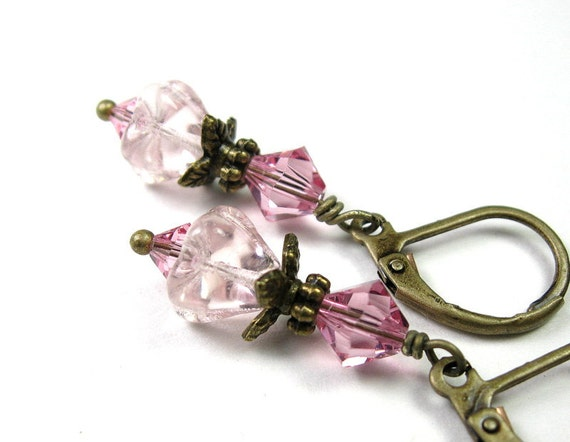 Pink Czech Glass Swarovski Flower Earrings, Vintage Style Jewelry, Womens Accessories, Gifts for Her, Pink Dangle Earrings