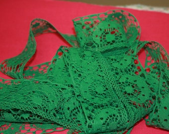Vintage Cotton Lace in Green or Brown