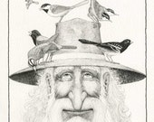 Old Friends, fine print of original drawing, exuberant, whimsical, black, white, intricate textures, fine detail, birds.