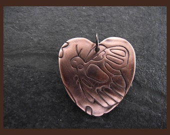 Butterfly embossed Copper Heart Pendant Charm