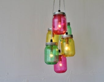 Candy Mason Jar Chandelier - Featuring 6 Painted Jars in Pink, Green, Yellow - Direct Hardwire Hanging Lighting Fixture - BootsNGus Lamps