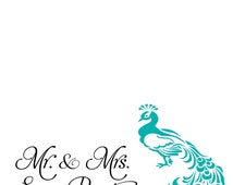 INSTANT DOWNLOAD Printable - DIY Blue Peacock Place card/Escort Card template