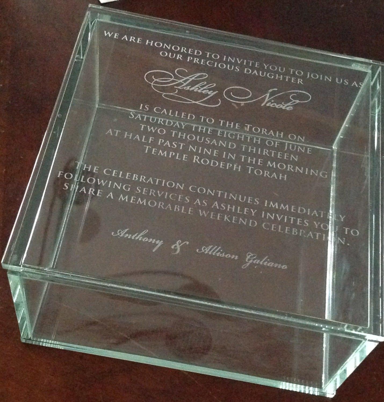 custom engraved glass box invitation wedding bar or bat With glass box wedding invitations