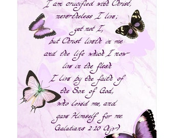 GALATIANS 2:20 --- 8 X 10 Hand Written Calligraphy Art Print Lavender Marble Custom Background Purple Butterfly Christ Crucified Son of God
