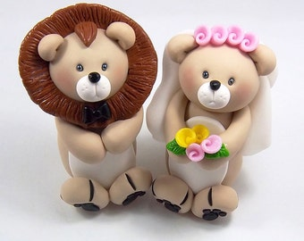 Wedding Cake Topper, Lion Figurine, Personalized Cake Topper