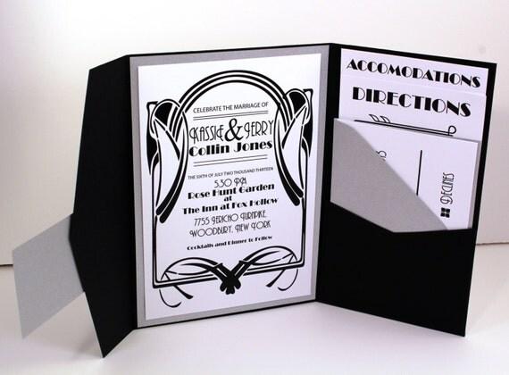 Vintage Glam Wedding Invitations: Vintage Glam 1920's Gatsby Inspired Art Deco By