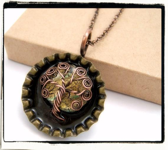 009 Antique Copper Faerie Gold Dichroic Moon Wire Wrap Pop Cap Tree of Life Pendant