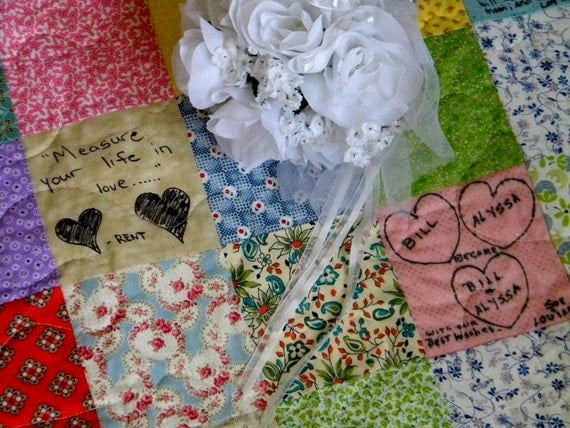 Items similar to Wedding guest book quilt Patchwork Quilt Queen Size match your colors 93x93 ...