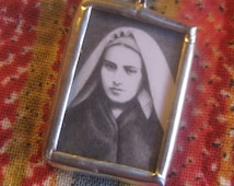 Confirmation Gift for Her - St Bernadette of Lourdes - Catholic Jewelry - Saint Medal - Pencil Drawing - FREE SHIPPING