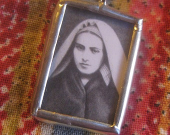 Confirmation Gift for Her - St Bernadette of Lourdes - Catholic Jewelry - Saint Medal - Pencil Drawing