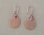 Pink Lattice Mother of Pearl Shell Earrings in Sterling Silver with Pink Sapphire and Pink Tourmaline