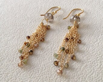 Multicolored Sapphire Dangle Earrings in Gold Vermeil with Pistachio Green and Brown Sapphires and Imperial Topaz and Smoky Quartz