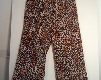 leopard print pants 34 xl corduroy cotton 80s punk eighties boho art biker rockabilly grunge rockabilly