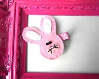 Bunny felt hair clip - Felt Hair Clip - Easter Bunny Hair Clippie