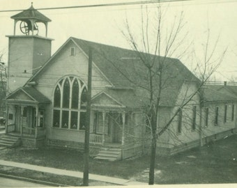 Beautiful Church With Bell 1920s America Town Antique Picture Vintage Photo Snapshot Black White Photograph