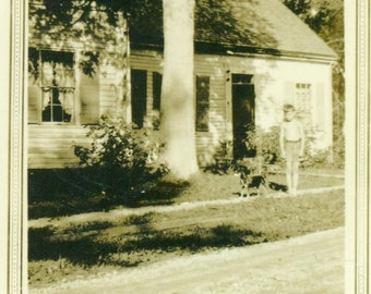 Summer fun Little Shirtless Boy in Shorts With Puppy Dog In Front Of House  Vintage Black White Photo Photograph