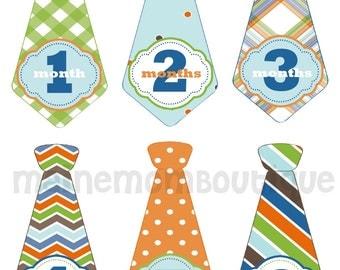 FREE GIFT, Baby Boy Tie Monthly Stickers, Baby Boy Month Stickers, Photo Prop, Baby Gift, Green, Blue, Orange, Boy Nursery Decor