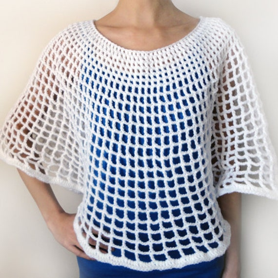 Free Mesh Yarn Crochet Patterns : Circular Mesh Poncho PDF Crochet Pattern Instant Download