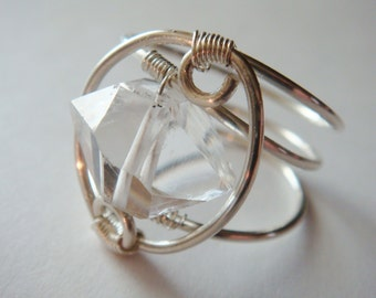 Herkimer Diamond Ring   Large Chunky Style Herkimer Gemstone Sterling Silver Ring   Wire Wrapped Ring   Silver Ring